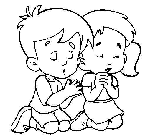 519x470 Children Praying Picture Free Coloring Pages Kids Online World