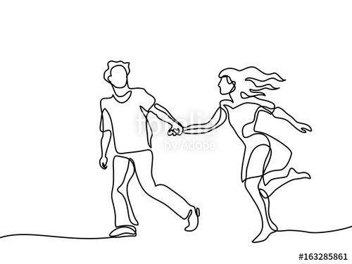 500x375 Happy Running Couple. Continuous Line Drawing. Vector Illustration