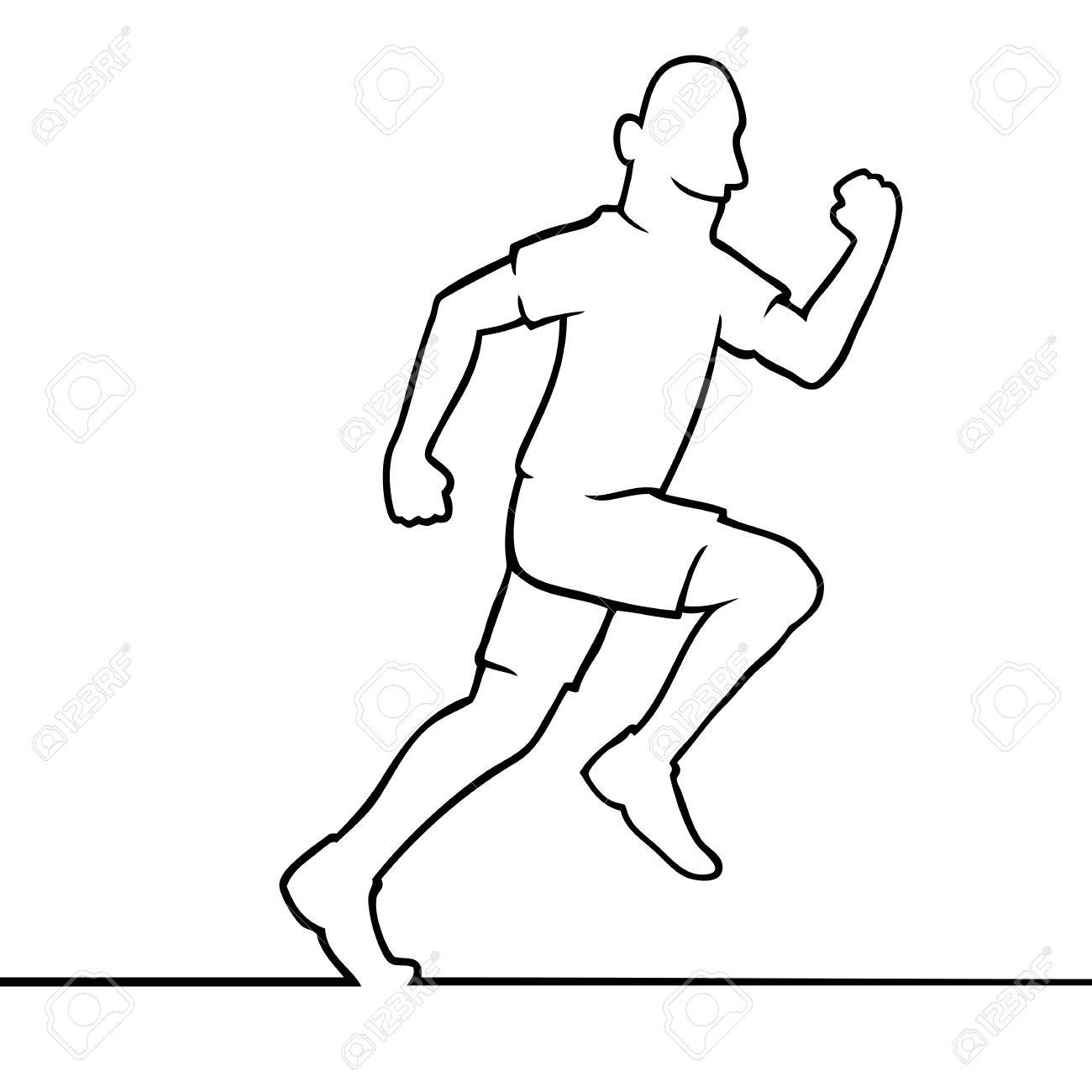 1300x1300 Black Line Art Illustration Of A Running Athlete Royalty Free