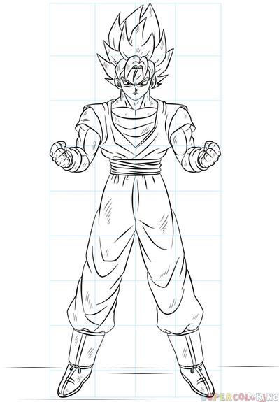 399x575 How To Draw Goku Super Saiyan Step By Step Drawing Tutorials