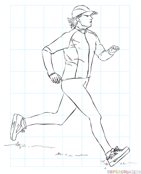 466x575 How To Draw A Running Woman Step By Step Drawing Tutorials