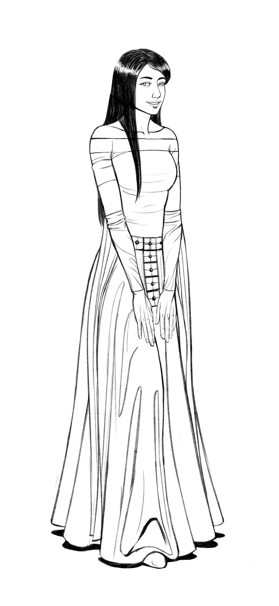 900x1952 Sketch Medieval Lady By Blackdeathman