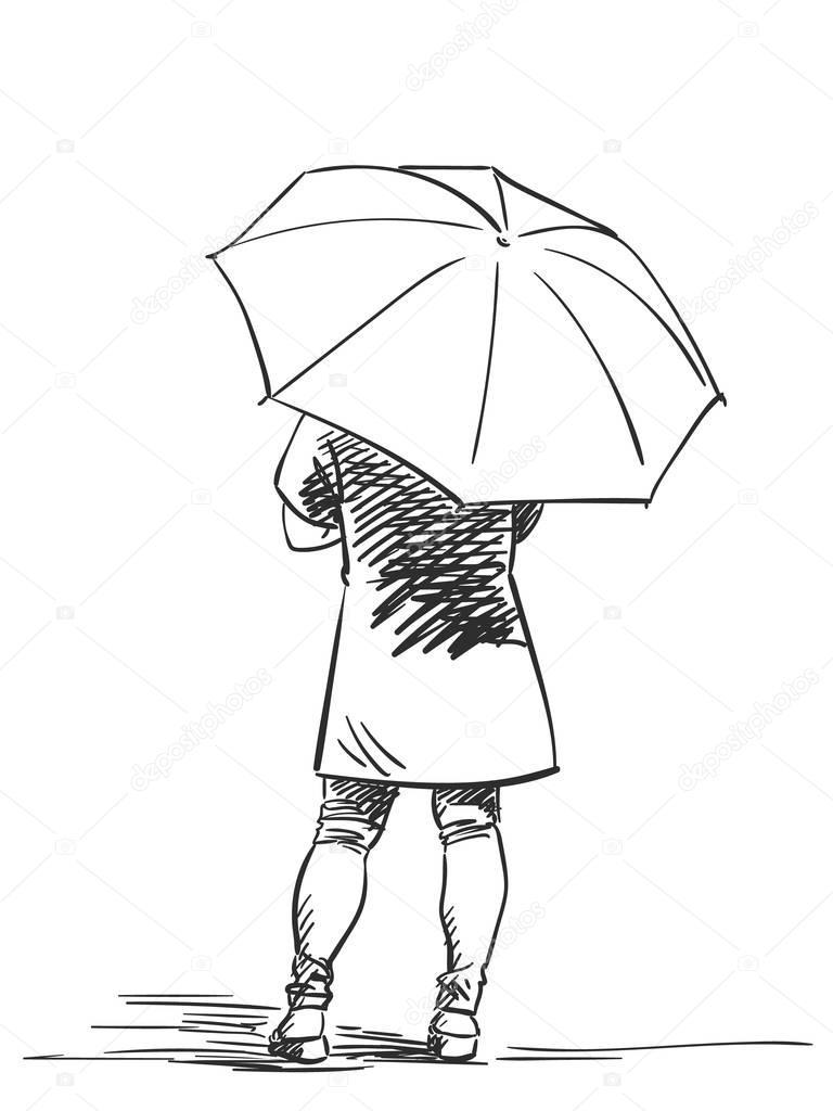 768x1024 Standing Back Person With Umbrella Stock Vector Olgatropinina
