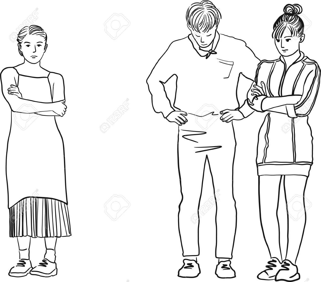 1300x1142 Drawing Of A Man In Between Two Woman. Young Sad Women Standing
