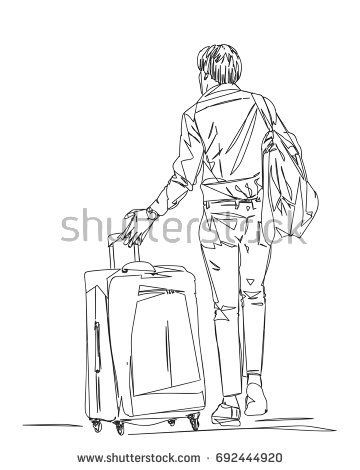 360x470 Man Traveler Walking With Suitcase View From Back Silhouette Made