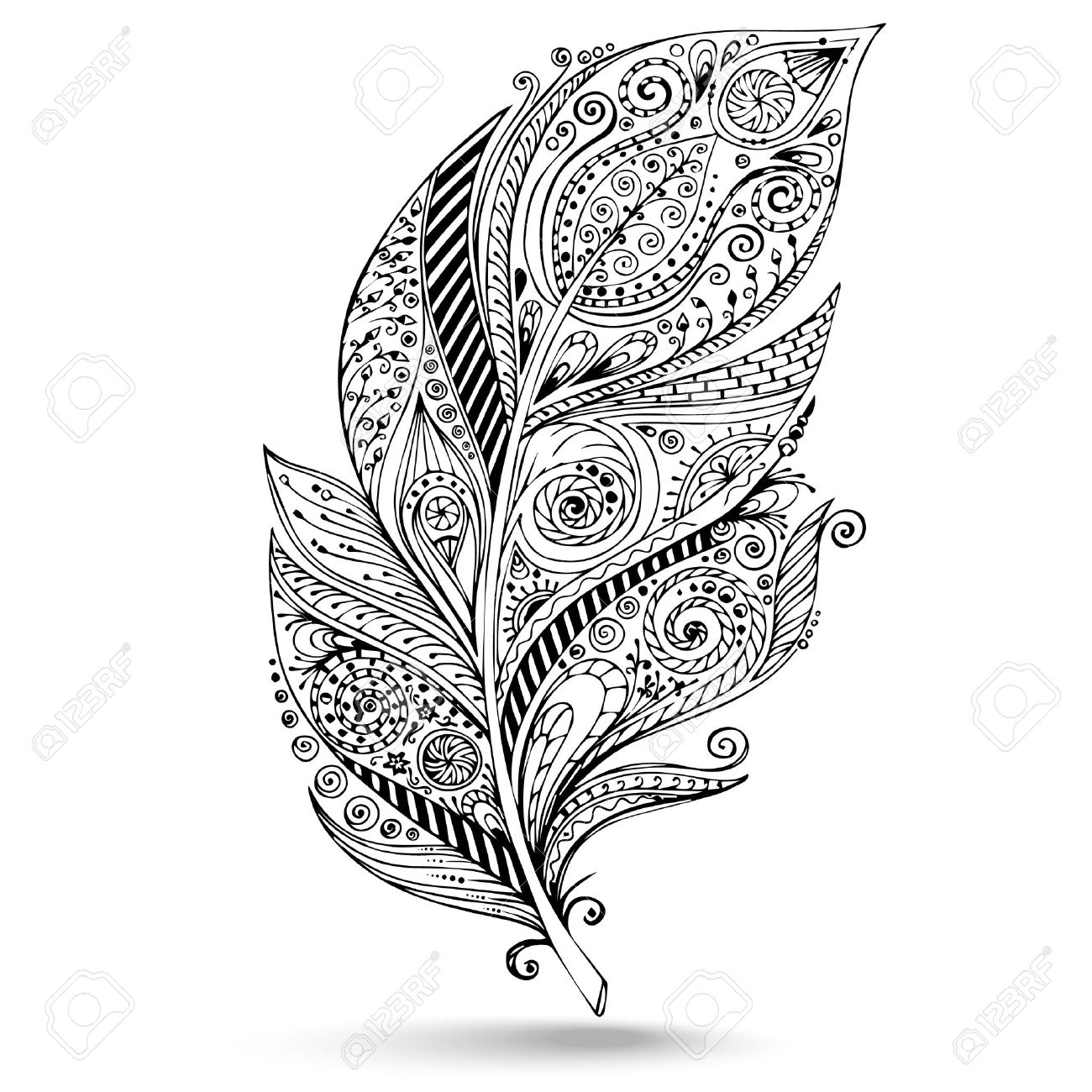 1300x1300 Vector Tribal Feather. Llustration Is Created From A Personal