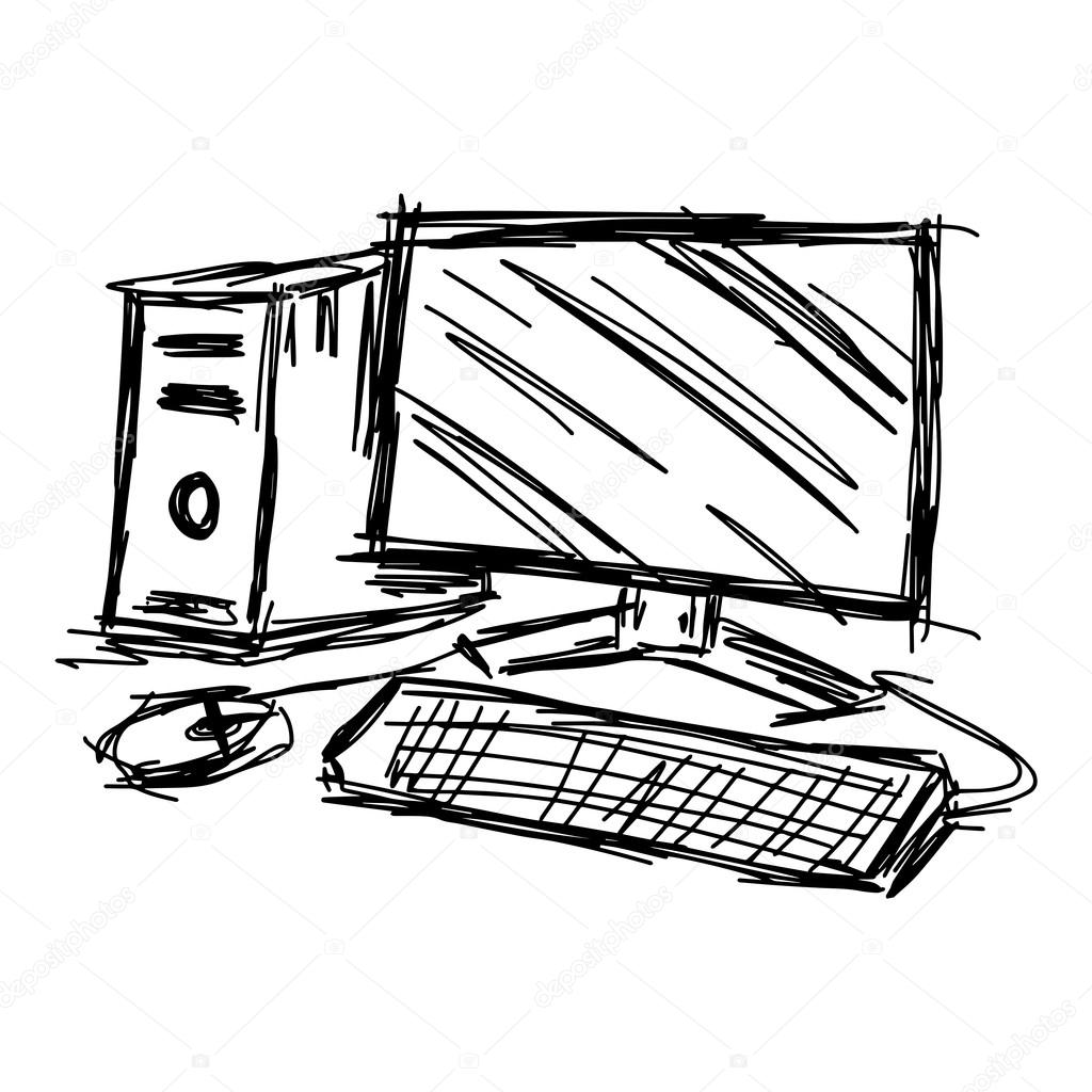 1024x1024 Illustration Vector Hand Draw Doodles Of Sketch Personal Compute