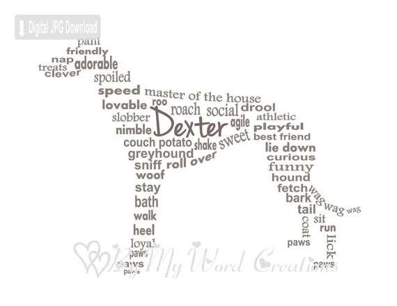 570x440 Greyhound Word Art Galgo Word Art Personalized Dog Owner