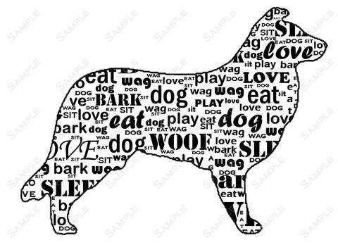 480x348 Personalized Border Collie Dog Silhouette Border Collie Word Art Print