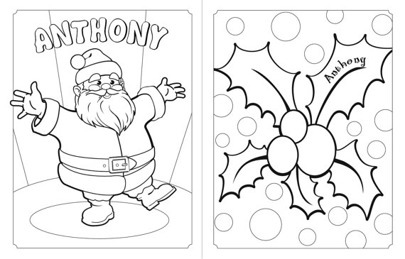 570x365 Personalized Holiday Coloring Book. A Custom Christmas