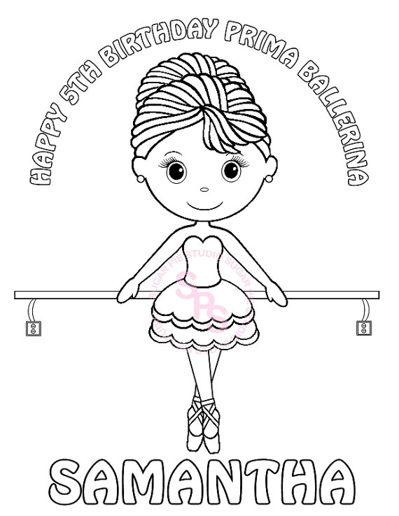 570x738 Personalized Printable Ballerina Dance Birthday Party Favor