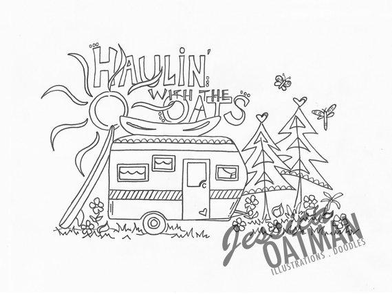570x428 Camper Art, Coloring Pages, Vintage Camper Art, Camper