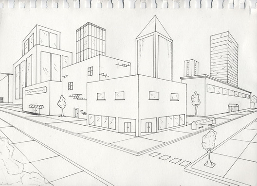 528x383 Gallery One Point Perspective Building,