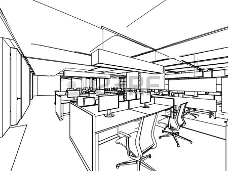 450x338 Outline Sketch Drawing Perspective Of A Interior Space Office
