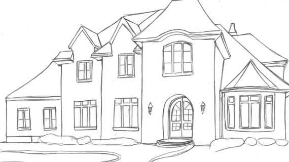 570x320 Simple Drawing Of A House How To Draw A House In 1 Point