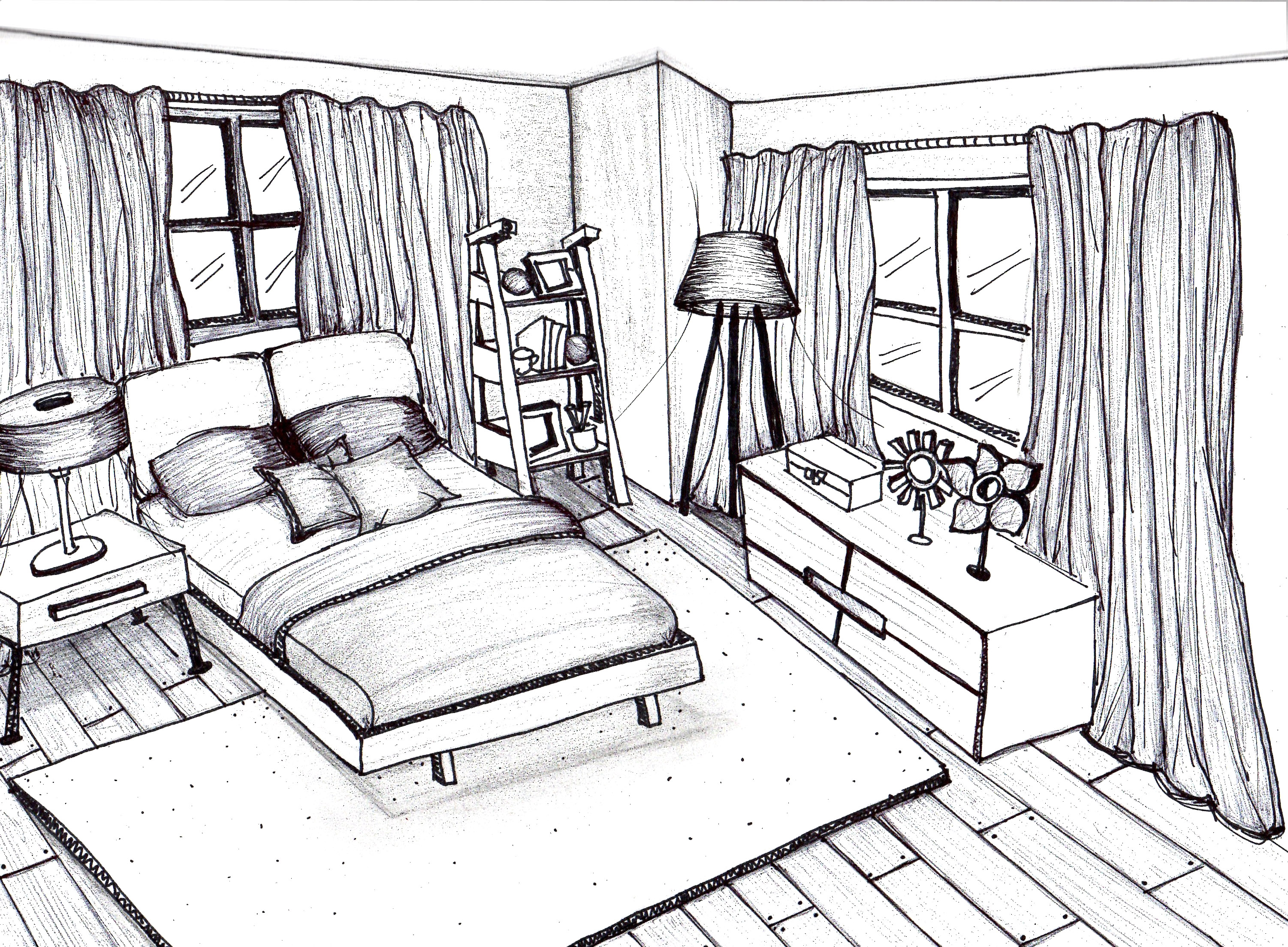 3003x2209 Bedroom How Tow Room In One Point Perspective House Youtube