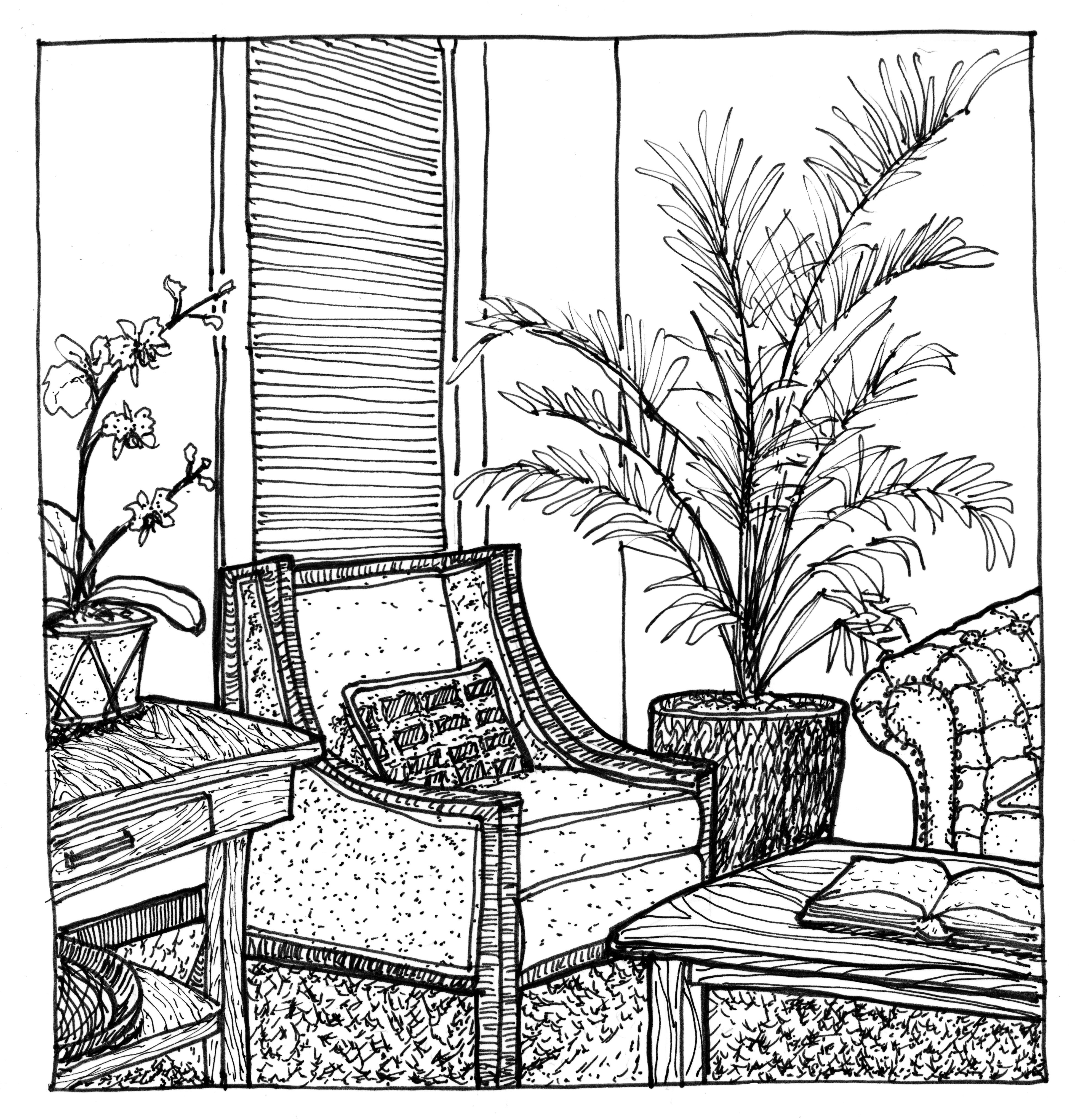 3897x4061 Drawn Office Perspective Drawing