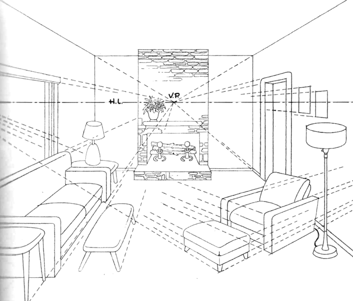 700x596 Finished Drawing Of Living Room With Couches, Lamps, Coffee Tables