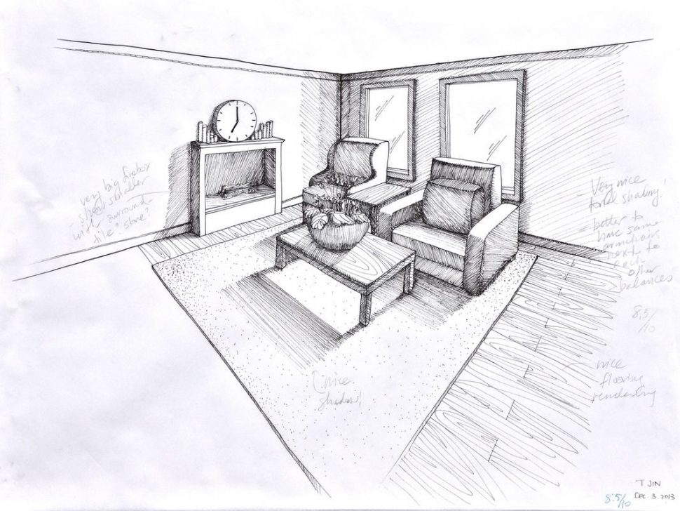 970x728 Living Room Living Room Amazing Perspective Drawing Design