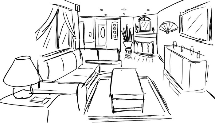700x400 Living Room One Point Perspective