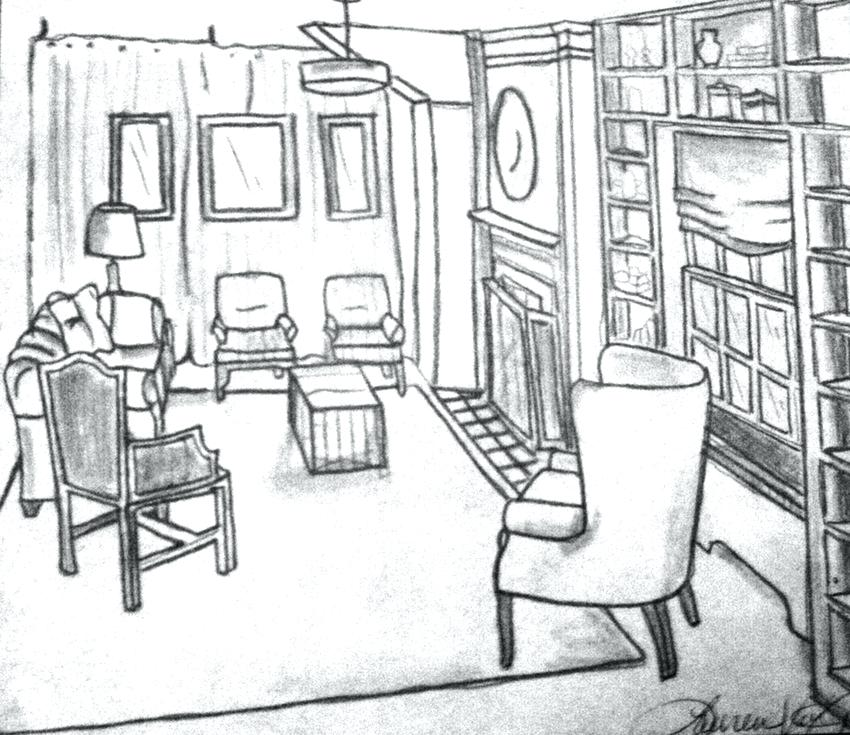 850x735 Bedroom Drawing Easy Perspective Drawing Living Room One Point