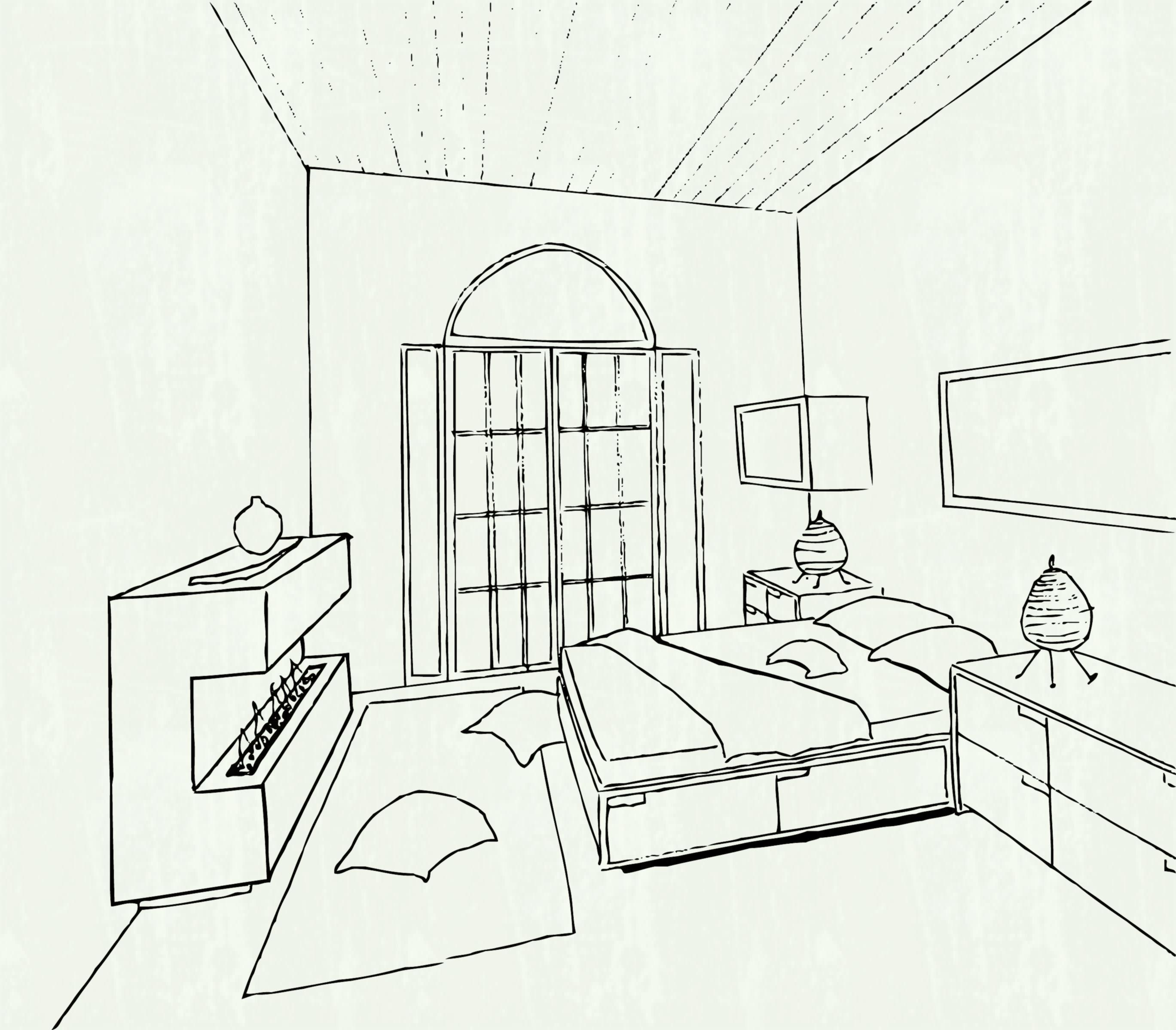 2737x2400 Drawing Tutorial Room In Two Point Perspective Bedroom By