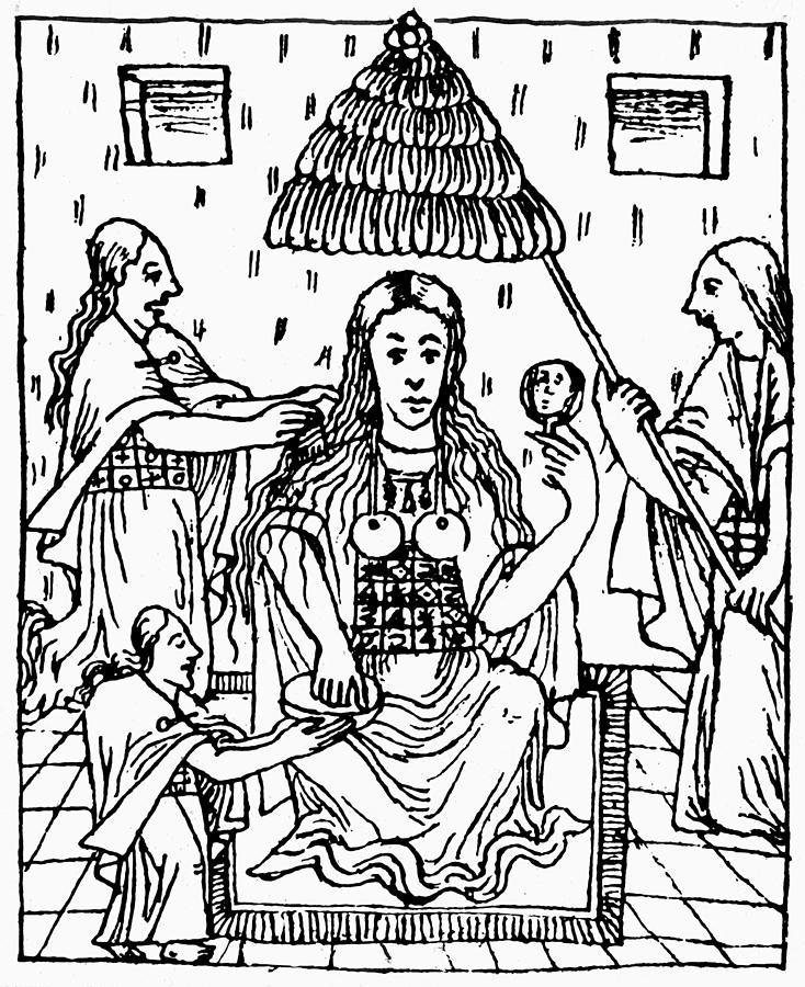 734x900 Peru Inca Women Drawing By Granger