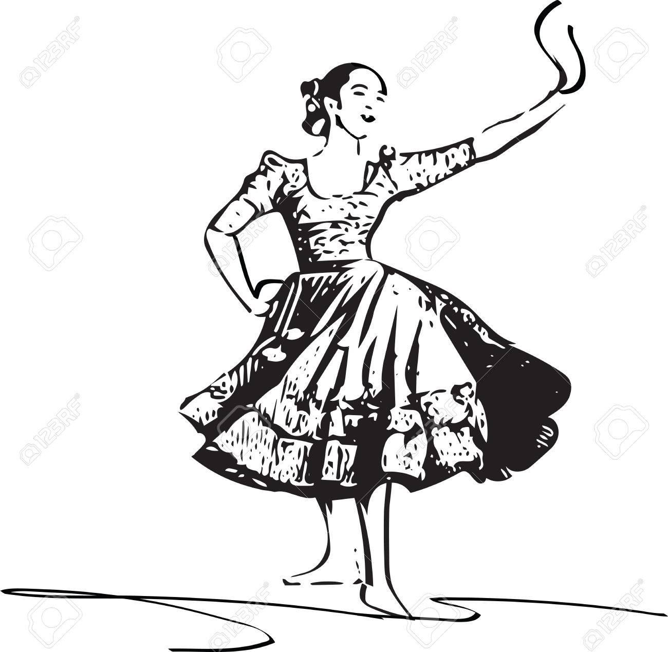 1300x1269 Illustration Of Woman Dancing Marinera. Peruvian Dancing. Royalty