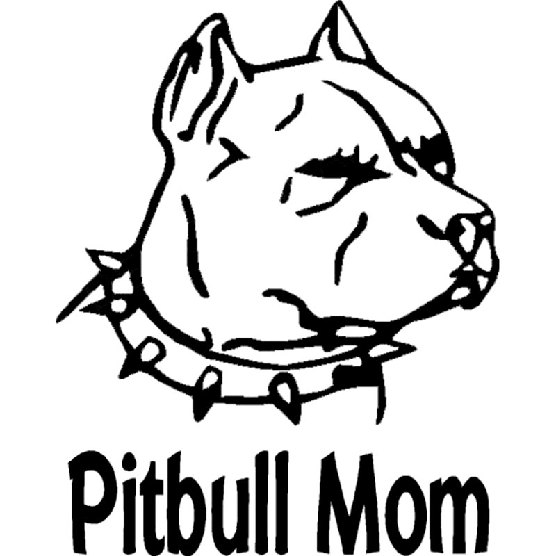 800x800 10.3cm12.7cm Pitbull Mom With Pitbull With Spiked Collar Vinyl