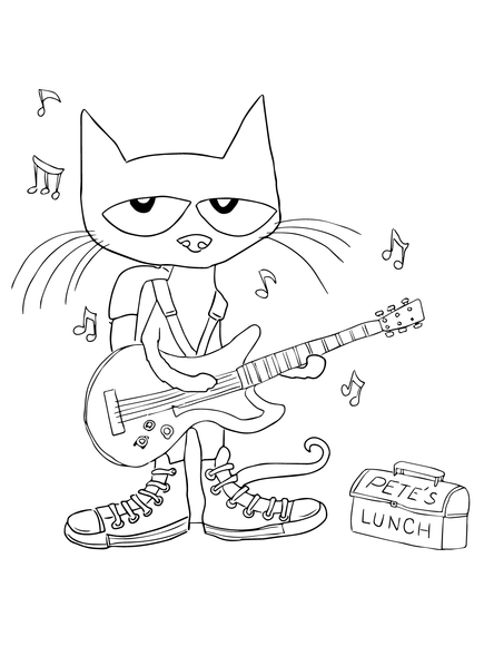 435x580 Pete The Cat Rocking In My School Shoes Coloring Page Baby
