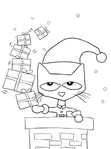 360x480 Pete The Cat Saves Christmas Coloring Page Free Printable
