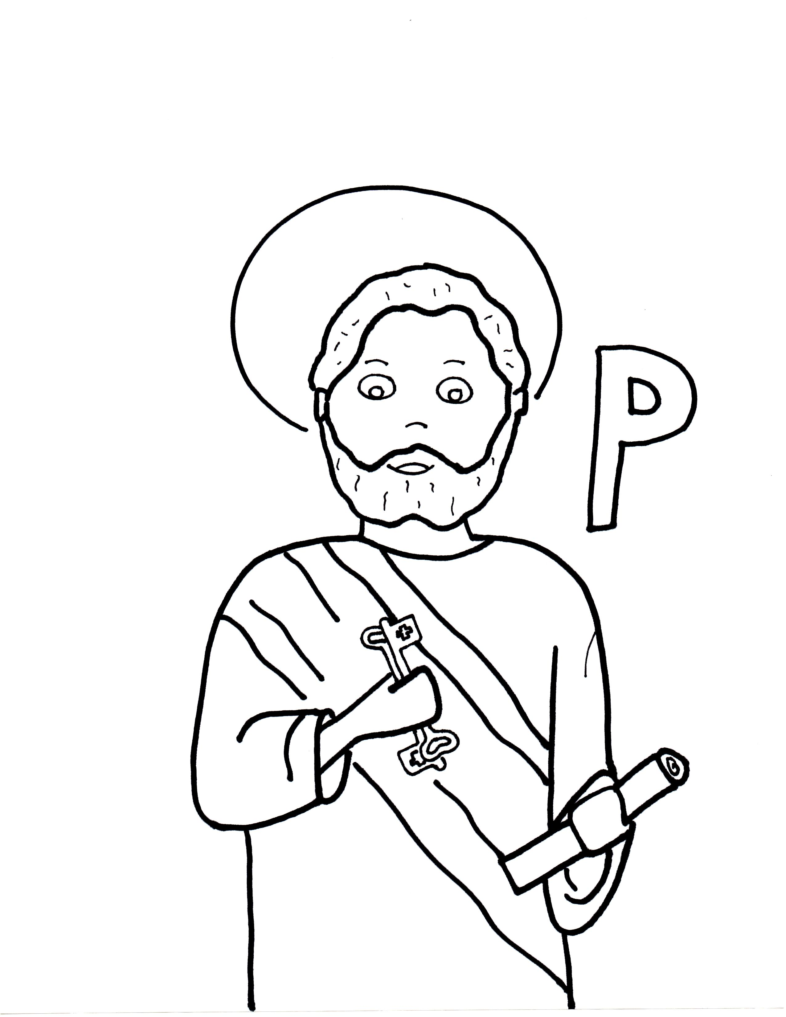2550x3300 P Is For St. Peter Saints To Color