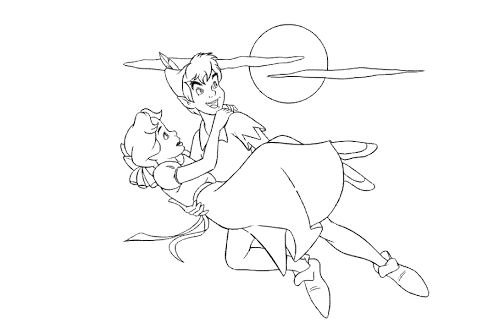 486x333 Peter Pan And Wendy Coloring Pages Drawing Board Weekly