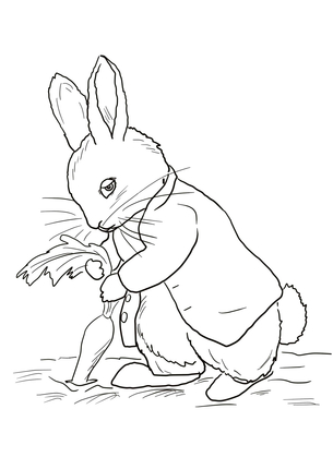 305x430 Click Peter Rabbit Stealing Carrots Coloring Page For Printable