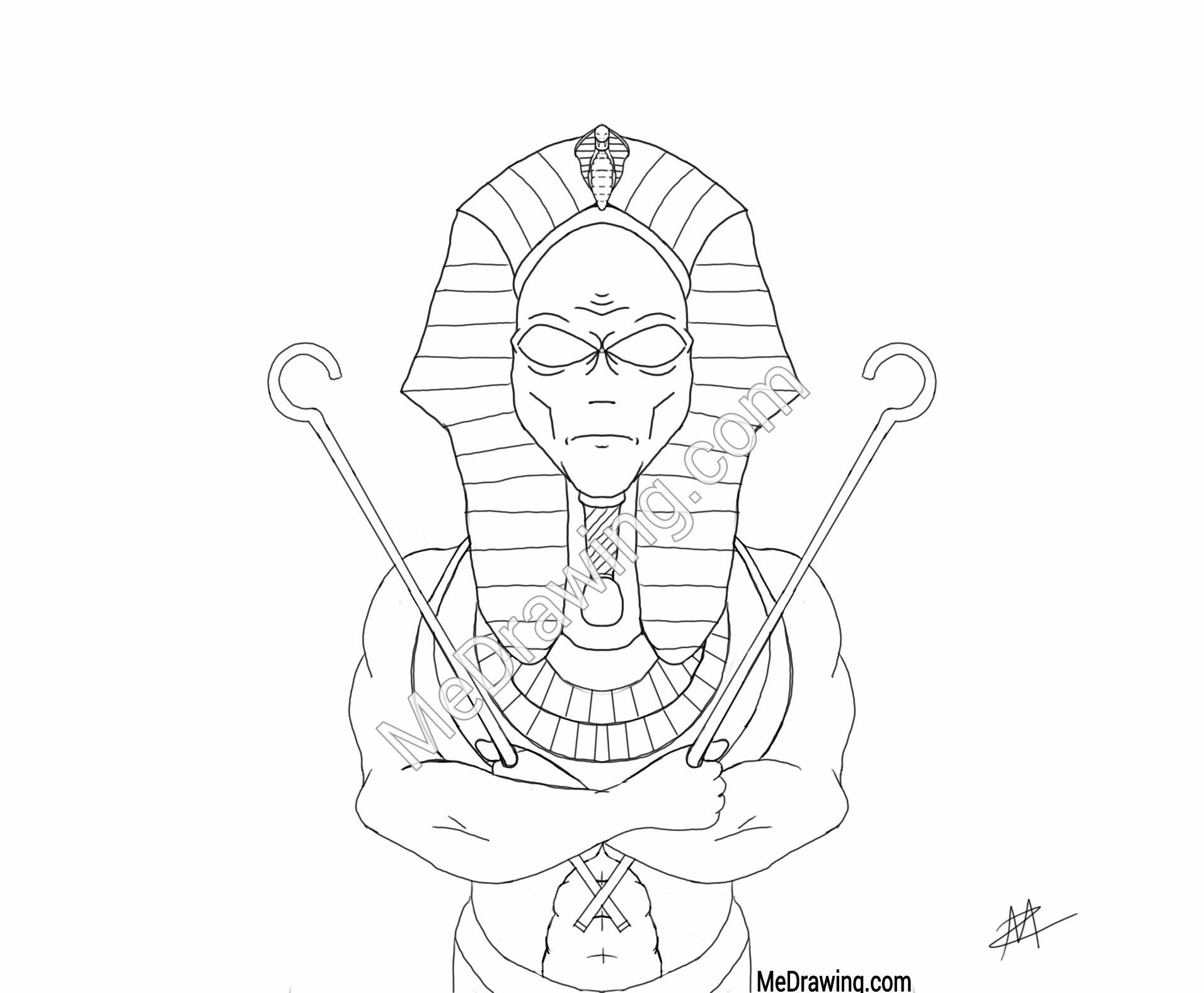 1911x1576 Alien Pharaoh Sketch