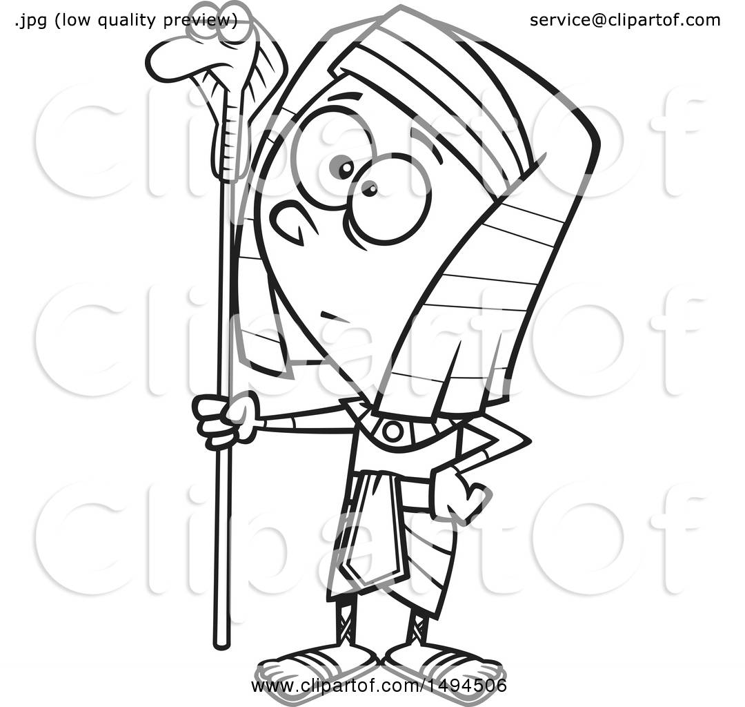 1080x1024 Clipart Of A Cartoon Black And White Pharaoh Boy Holding A Snake
