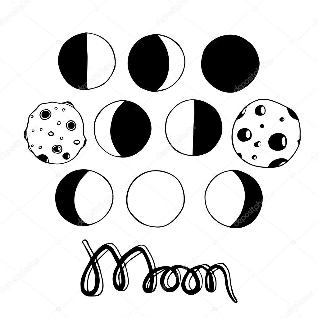 1024x1024 Cartoon Moon And Moon Phases. Vector Illustration. Stock Vector
