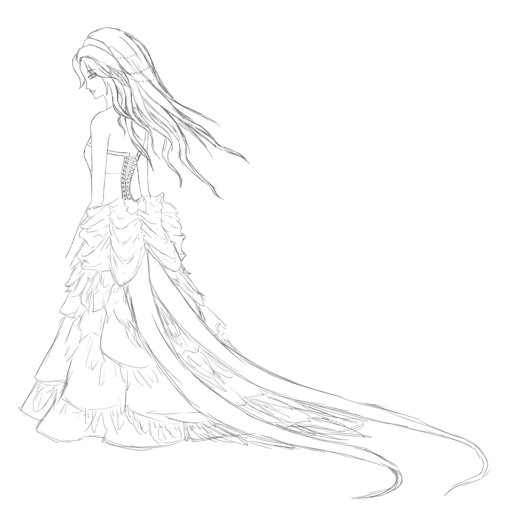 1024x1065 Pheasant Dress Sketchlineart By A R T 3 M I S