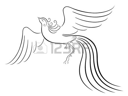 450x338 Black Graceful Firebird Contour Isolated Over White Hand Drawing