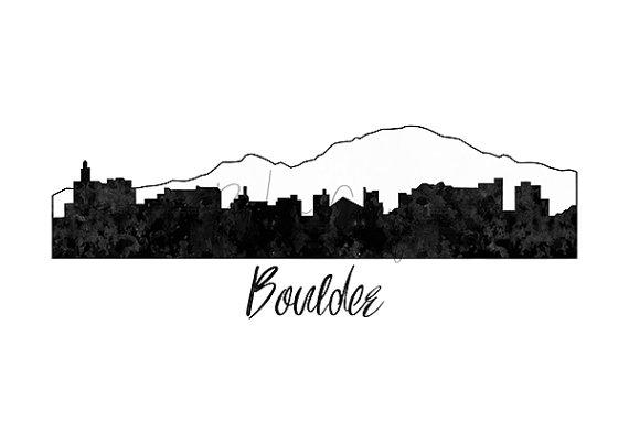 570x403 Boulder Skyline Print Colorado Cityscape Boulder City