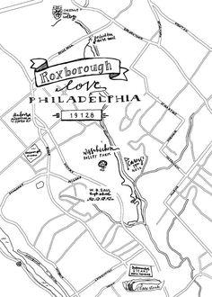 236x330 Manayunk Hand Drawn Map Philadelphia Maps Main