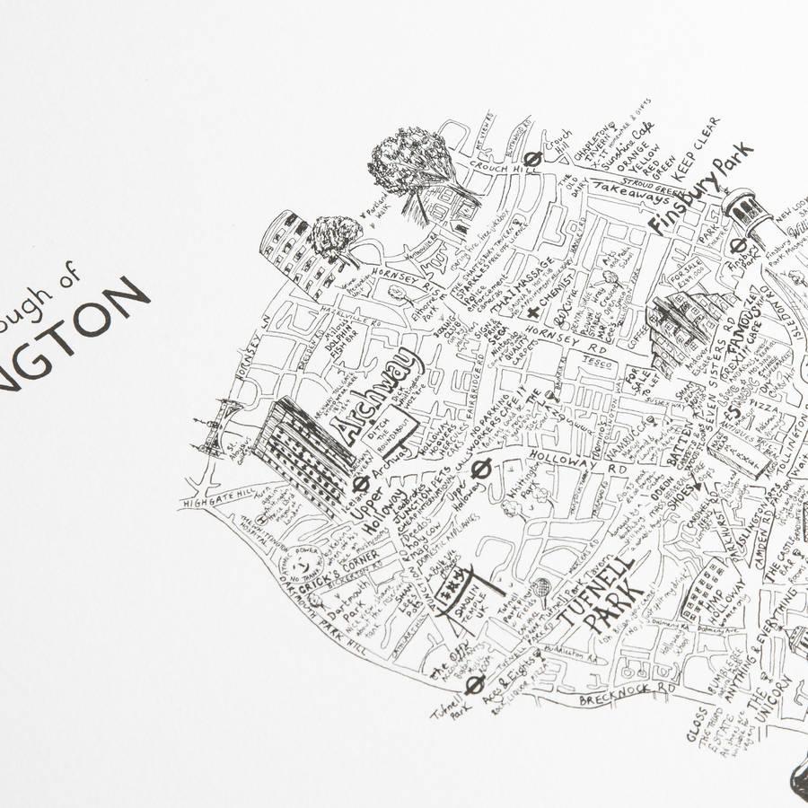 900x900 Islington Hand Drawn Map Print By Lovely Jojo'S