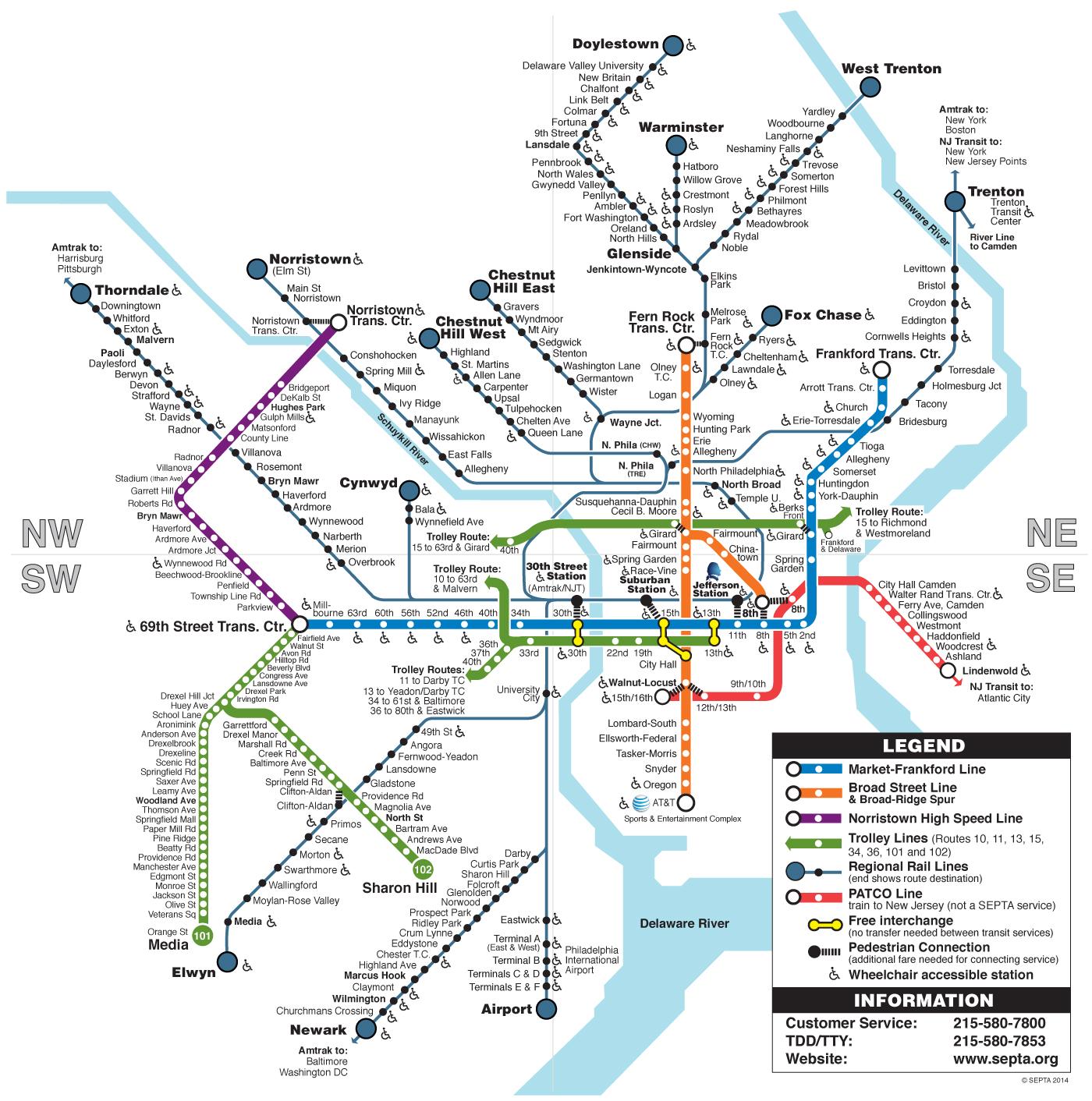 1400x1412 Septa Clickable Regional Rail Amp Rail Transit Map Philadelphia
