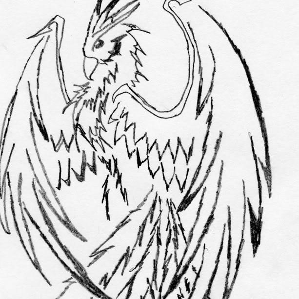 Phoenix Outline Drawing