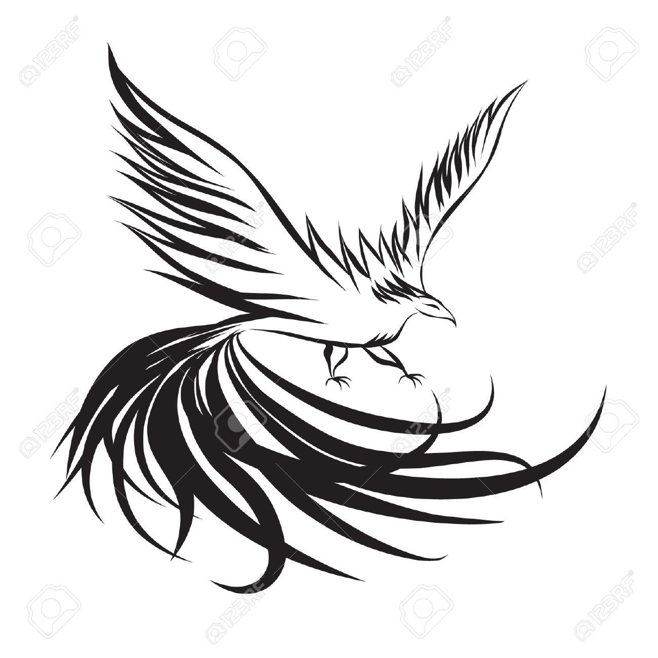 1300x1300 Phoenix Clipart Line Drawing