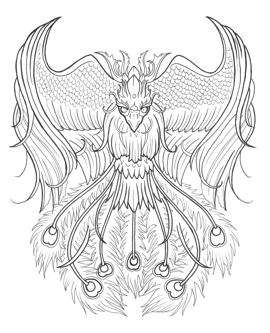 Phoenix Outline Drawing at GetDrawings | Free download