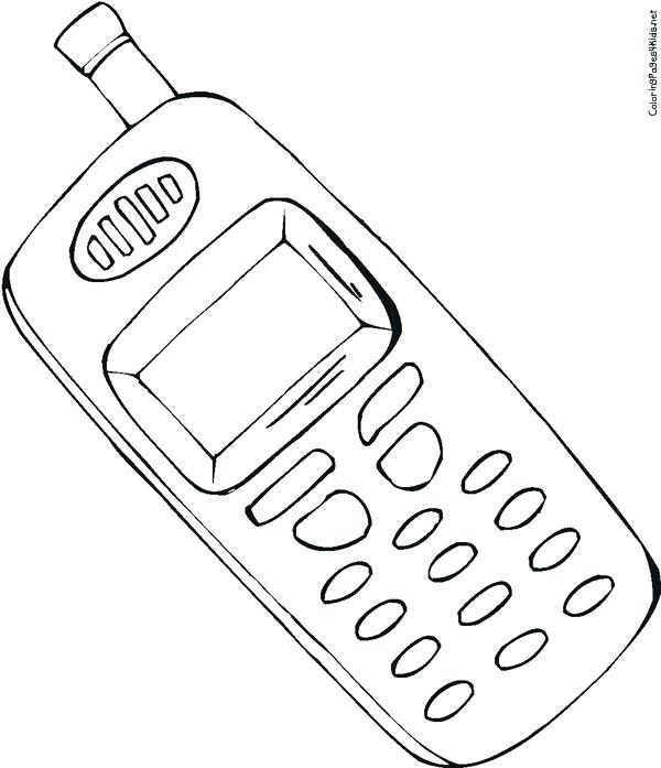 600x697 Telephone Coloring Pages Phone Coloring Page Cell Full Version