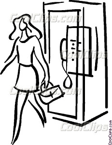 232x300 Woman Walking Out Of A Phone Vector Clip Art