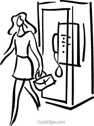 357x480 Woman Walking Out Of A Phone Booth Royalty Free Vector Clip Art