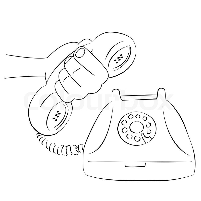 800x800 Cartoon Vector Outline Illustration Telephone Ringing Old